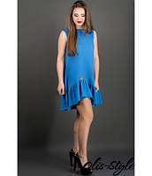 Платье Роми (бирюза) из креп-дайвинга со сборками по низу 44-50 размера 46