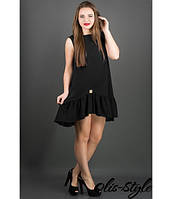 Платье Роми (черный) из креп-дайвинга со сборками по низу 44-50 размера 46