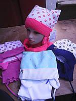 Шапочка с шарфиком кошечка с завязками