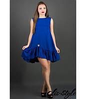 Платье Роми (электрик) из креп-дайвинга со сборками по низу 44-50 размера 46