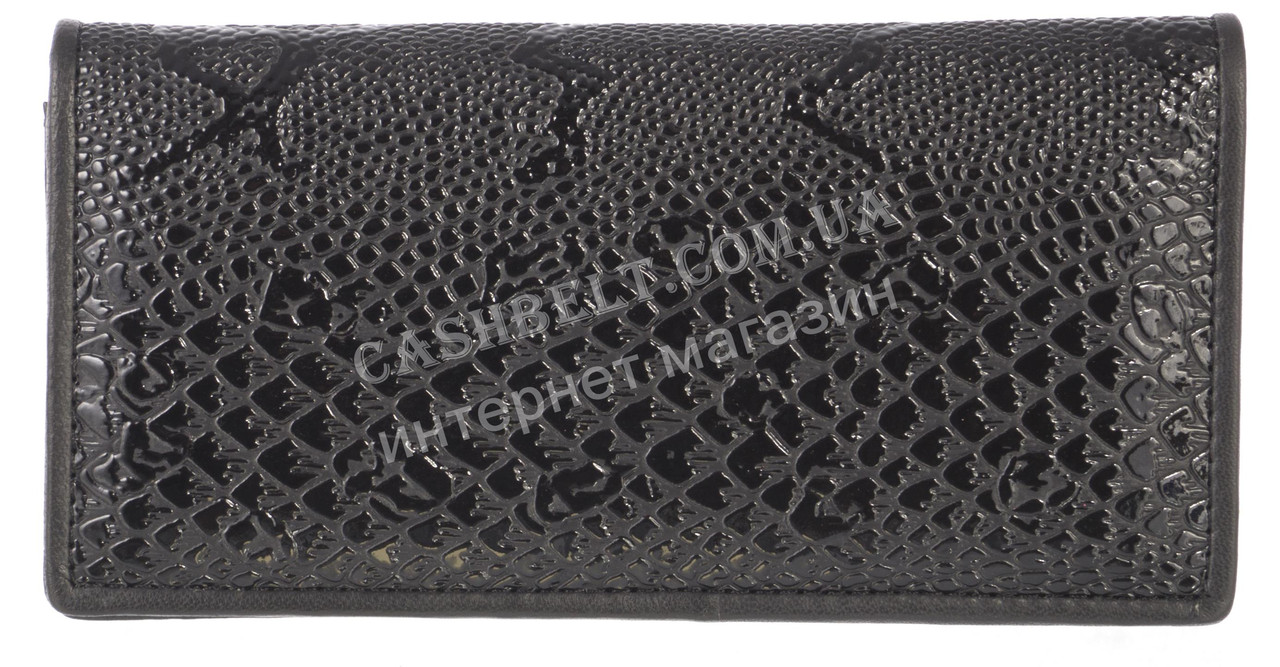 Недорогой женский кошелек с качественной мягкой кожи SWAN art. B205.1 BL SH черный лак рептилия