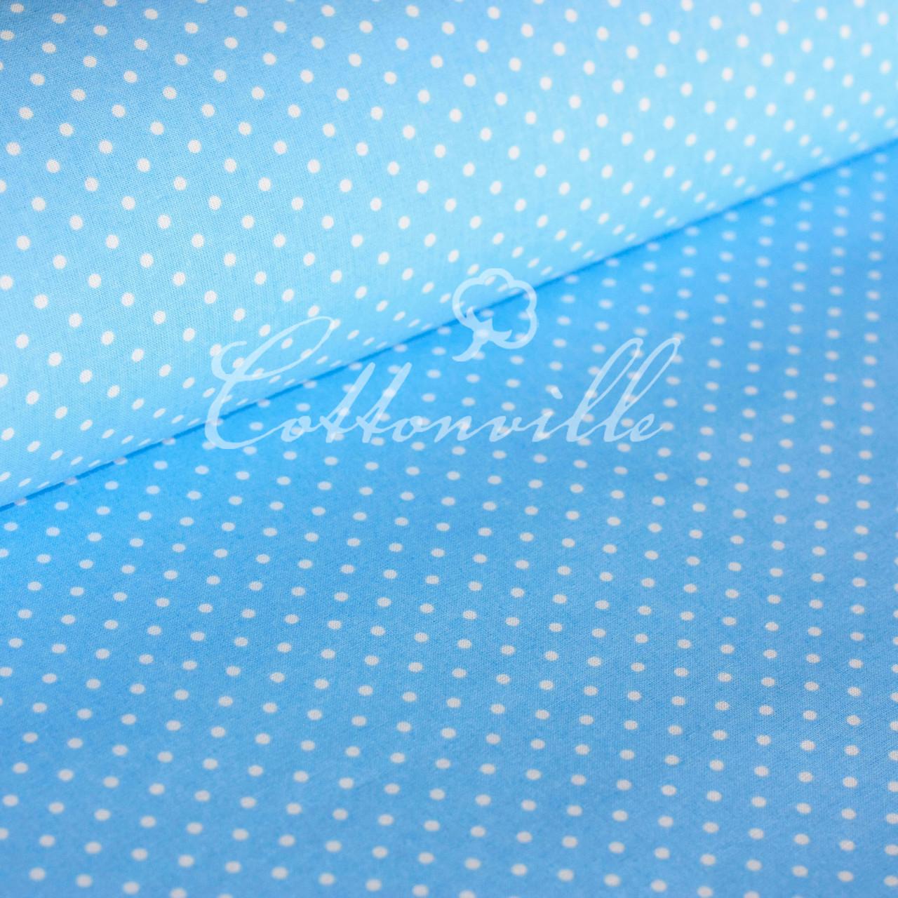 ✁ Відрізи тканини Горошки 4 мм на блакитному