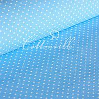 ✁ Отрезы бязи Горошки 4 мм на голубом , фото 1