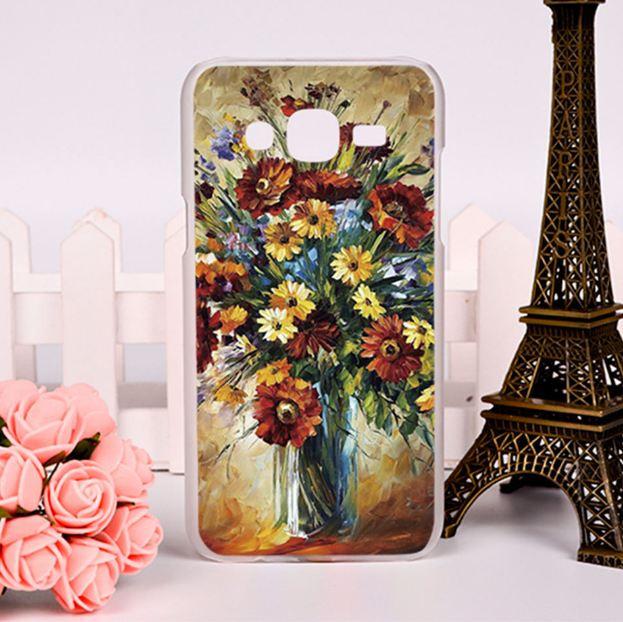 Силиконовый чехол для Samsung Galaxy J7 J700H с картинкой Ваза с цветами