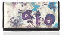 Недорогой женский кошелек с качественной мягкой кожи SWAN art. B215.2 BLUE синие цветы