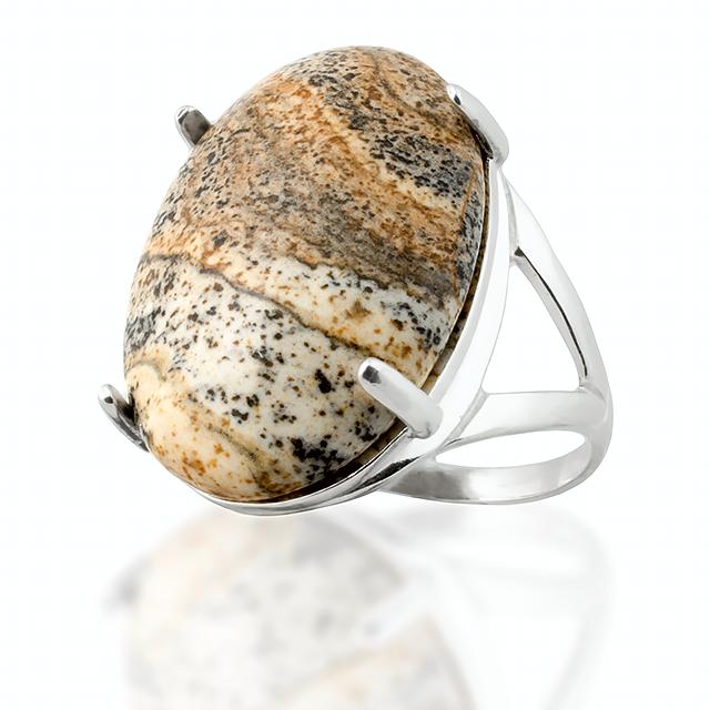 Яшма песочная, серебро 925, кольцо, 101КЯ