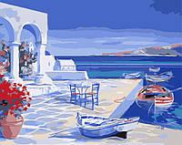 "Картина-раскраска по номерам Идейка ""Лазурь Санторини"" (KH2140) 40 х 50 см"