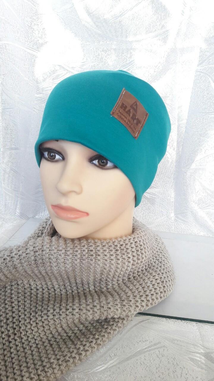 Бирюзовая женская шапка на флисе