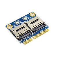 Адаптер MR15 Mini PCI-E - micro SD x2 (TF Dual) Win Mac SDXC/SDHC/SD M18x R1/R2