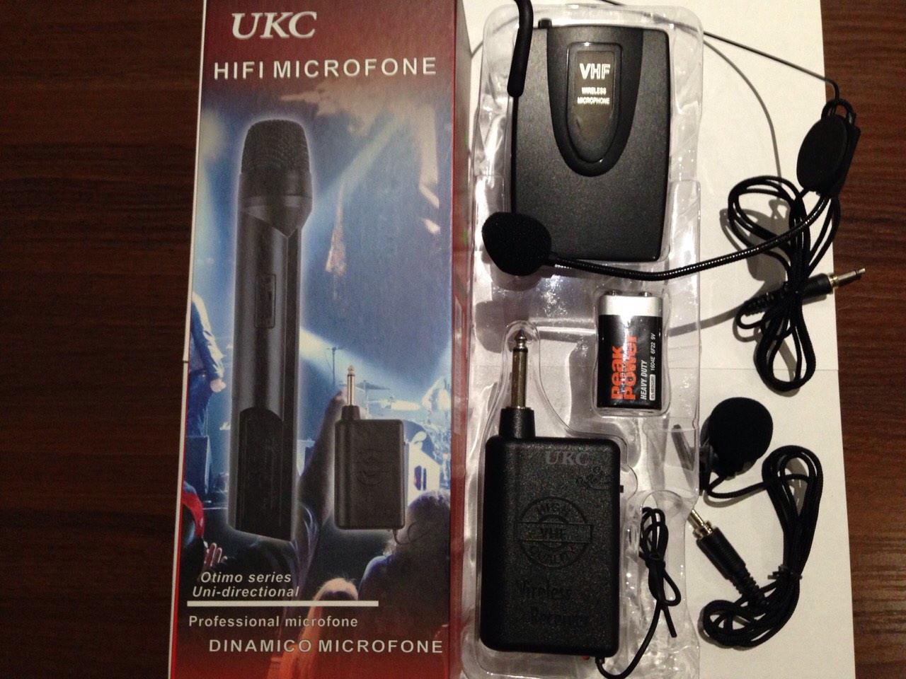 Радиомикрофон  вокальный Головной  микрофон прищепка  UKC  U-192B