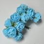 Роза латексная голубая, букетик из 11 цветков, диаметр розы 15-20 мм, длина проволоки 7 см
