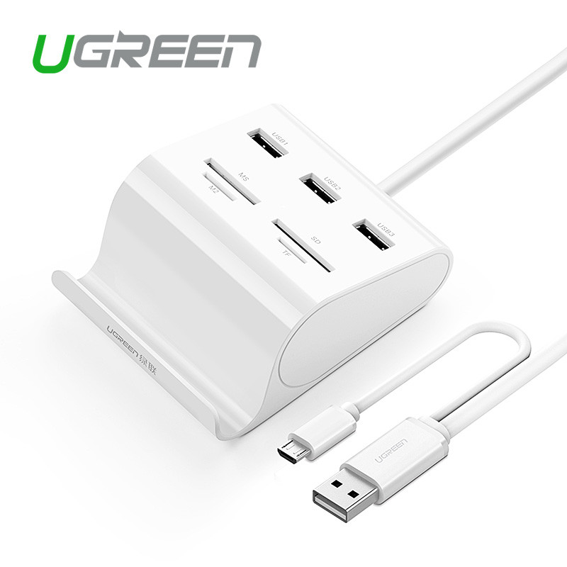 Ugreen 3 порта USB 3.0 Hub (юсб хаб) с Card Reader, OTG и подставка