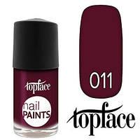 TopFace Лак для ногтей Nail Paints Polish PT-102 11ml Тон №011 темный вишневый, эмаль