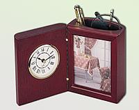 Деревянный настольный прибор часы+фоторамка (0056XJU)