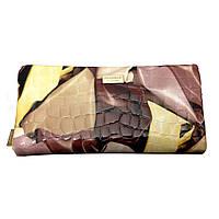 Кошелёк из натуральной кожи женский лаковый коричневого цвета