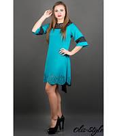 Платье Джаконда (бирюза) с перфорацией и оригинальной спинкой 46-52 размера