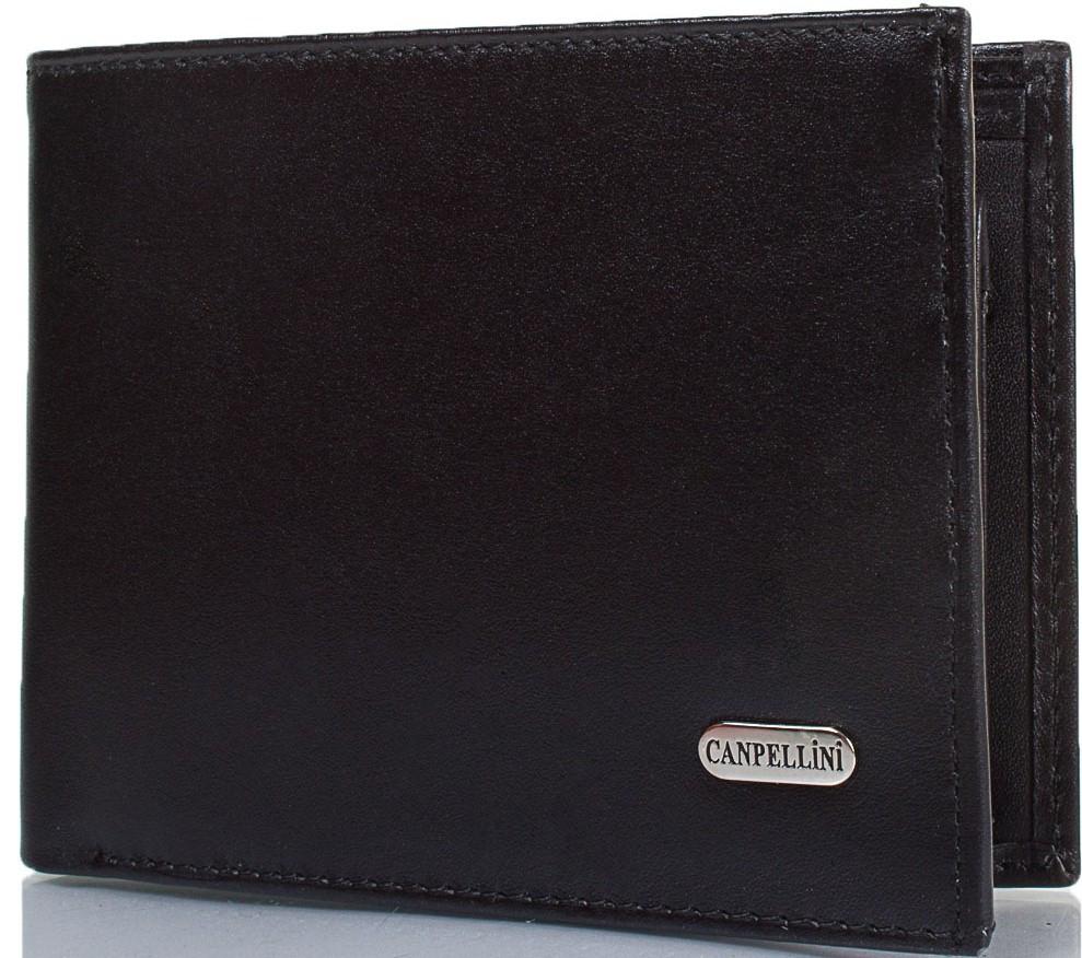 Класичний чоловічий гаманець з натуральної шкіри CANPELLINI SHI1105-1 чорний