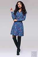 Джинсовое женское платье с принтом на пуговицах