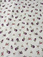 Ткань декоративная с тефлоновой пропиткой с мелкими фиолетовыми и розовыми цветочками