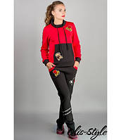 Женский спортивный костюм Драйв (красный) с мультяшной аппликацией 46-54 размера, фото 1