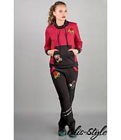 Женский спортивный костюм Драйв (бордовый) с мультяшной аппликацией 46-54 размера, фото 1