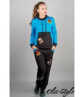 Женский спортивный костюм Драйв (бирюза) с мультяшной аппликацией 46-54 размера, фото 1