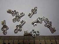 """Кулон (подвеска) """"Ключик"""" металлическая, цвет серебристый, размер 16*0,8 мм, отверстие 2 мм"""