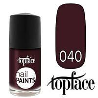 TopFace Лак для ногтей Nail Paints Polish PT-102 11ml Тон №040 темный вишневый, эмаль