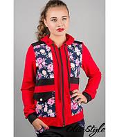 Спортивный костюм Анжелика (красный цветы) с цветочным принтом 46-54 размера, фото 1