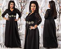 Вечернее платье в пол с  гипюровым верхом, декорировано вышивкой на талии.