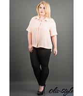 Сорочка Ніка (персик) з креп шифону з перфорацією на гудзиках великого розміру 54-60 розмір, фото 1