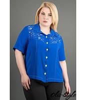 Рубашка Ника (электрик) из креп шифона с перфорацией на пуговицах большого размера 54-60 размер, фото 1