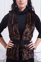 Женская меховая жилетка на завязках