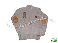 Детские свитера и кофты оптом. Вязанная кофта для мальчика на молнии, Турция. 10-11, 12-13, 14-15 лет (беж)