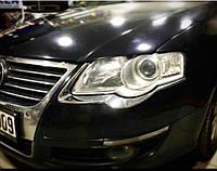 Volkswagen Passat B6 2006-2012 гг. Накладки на фары (2 шт, пласт)