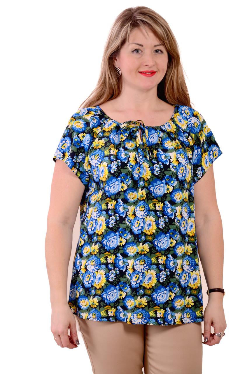 Блуза бирюзовая  из натурального хлопка Бл 007 цвет 1