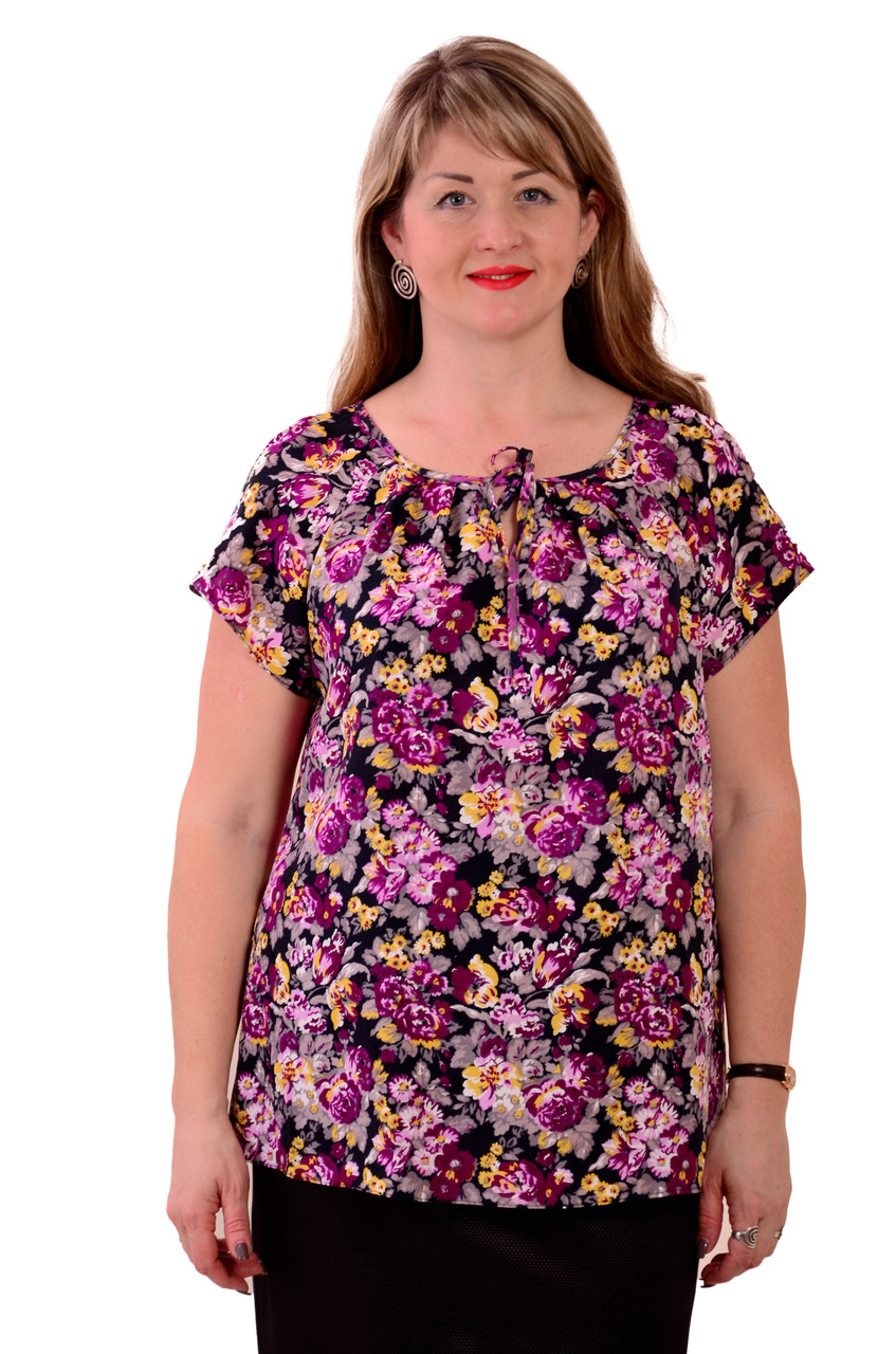 Блуза туника с цветами  из натурального хлопка Бл 007 цвет 2