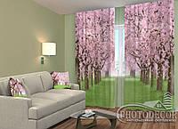 """ФотоШторы """"Зеленая аллея с цветущими деревьями"""" 2,5м*2,9м (2 половинки по 1,45м), тесьма"""
