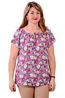 Блуза туника розовая с цветами  из натурального хлопка Бл 007 цвет 5