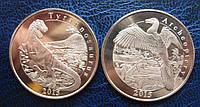 """О.Майотта -  набор """"Динозавры"""" 2 монеты 1 франк 2015 г., фото 1"""