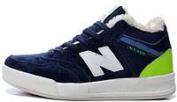 Мужские зимние кроссовки New Balance Winter (Нью Баланс) с мехом синие