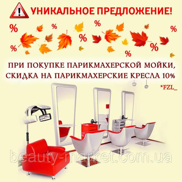 При покупке мойки, скидка 10% на парикмахерские кресла