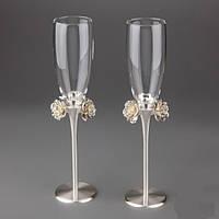 Свадебные бокалы weddings bouquet,бокалы на свадьбу
