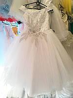 """Бальное платье на 6-7 лет """"Белый цветок/2 """""""