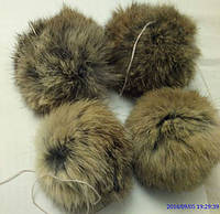 Бубон (помпон) рыжий из меха кролика, диаметр 7-10 см