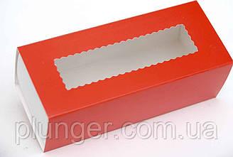 Коробка  с окном для макарун красная