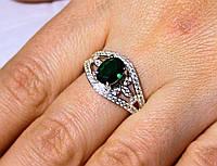 Кольцо серебро 925 проба 18 размер АРТ1193 Зеленый