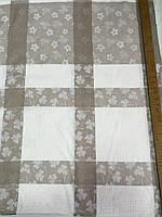 Ткань лён скатертная квадраты с цветами, фото 1