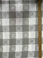 Ткань лён скатертная бежевые и белые квадраты с кружочками, фото 1
