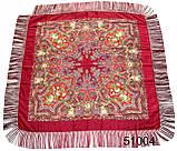 Павлопосадский шерстяной платок бордовый, фото 2